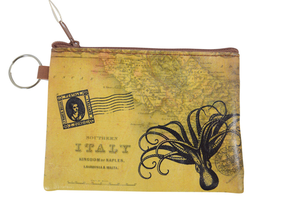 Vintage Map Globetrotter Italy Toilers of the Sea Octopus Coin Purse Keychain - Skelapparel