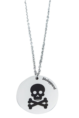 skull and crossbones coin pendant