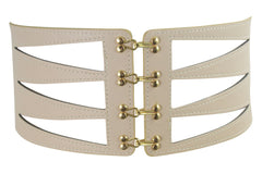 Geometric Design Laser Cut Hook And Eye Closures Statement Fashion Belt - Skelapparel