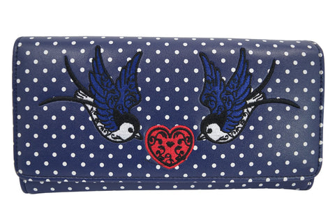 Two Swallow & Heart Polka Dot embroidery Bi-fold Wallet - Skelapparel
