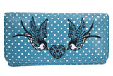 Swallow Bird Tattoo & Heart Polka Dot embroidery Bi-fold Wallet - Skelapparel