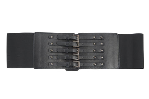 Poizen Industries Gothic Faux Leather Corset buckle Wide Elastic Belt