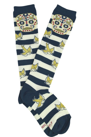 Stripes sugar skull and sparrow knee socks