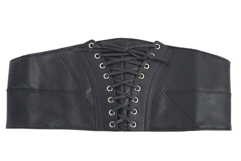Gothic Black Faux Leather Lace-Up Stretch Corset Belt - Skelapparel