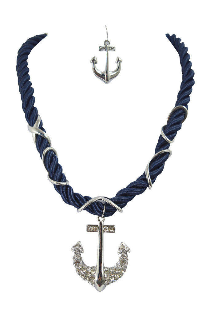 Nautical Navy Chunky Rope and Anchor Charm Necklace and Earrings Set - Skelapparel