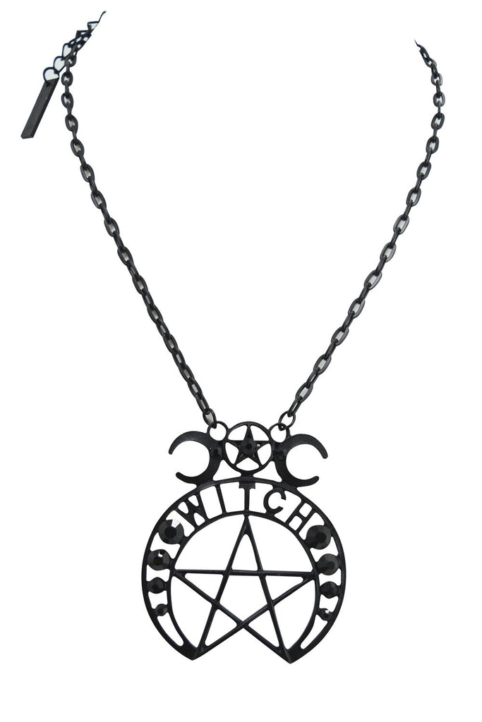 Witch Moon Pentagram and Crescent Moon Black Pendant Necklace - Skelapparel