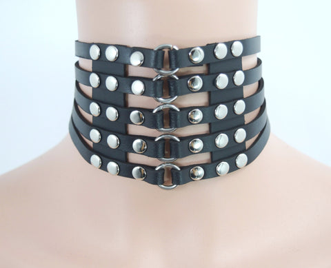 Leather BDSM Collar ,Leather Bondage Collar.Necklace.Woman harness.Erotic Accessory.
