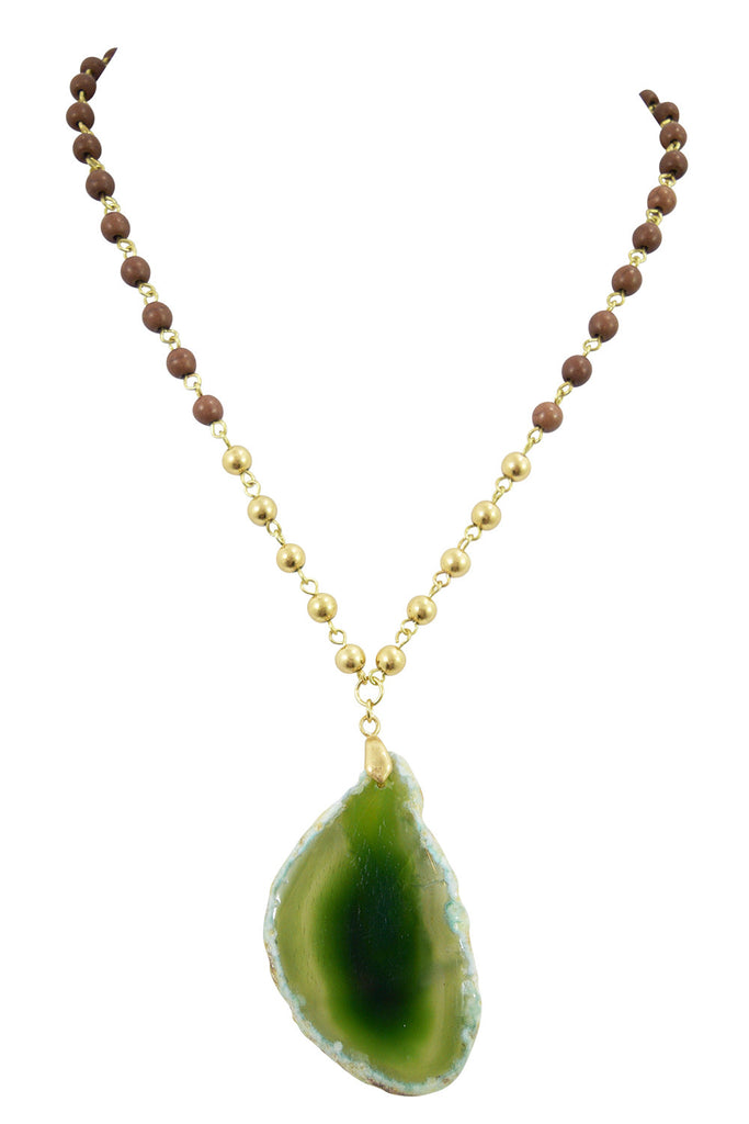 Magical Healing Semi-precious Stone Green agate Slab Slice Polished Wood Beaded Rosary Necklace - Skelapparel