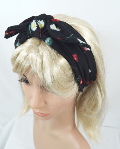 Liquorbrand 60's Daisy and cherry printed Campus Elastic Wide Headband