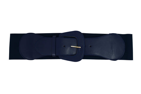 Retro Vintage Chunky Buckle Navy Blue Elastic Wide Stretch Waist Belt - Skelapparel