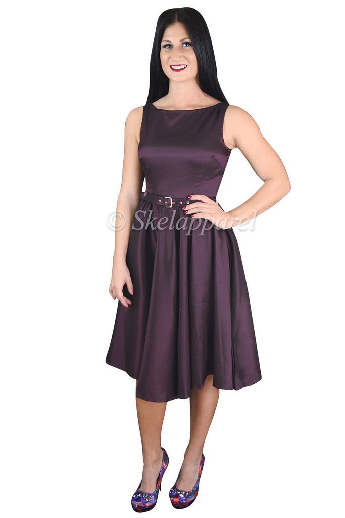60's Vintage Style Purple Satin Flare Swing Party Dress - Skelapparel