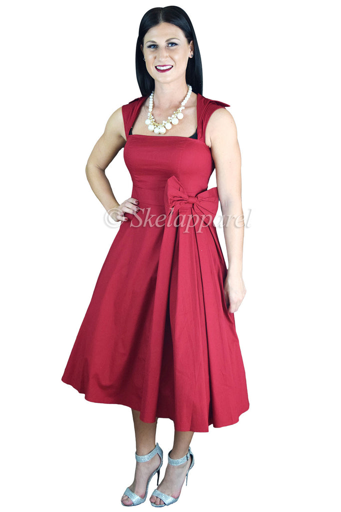 50's Rockabilly Vintage Red Belted Bow Accent Flare Midi Party Dress - Skelapparel