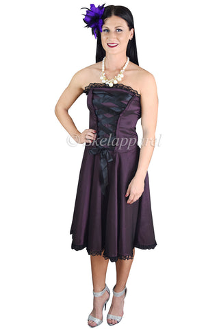 Gothic Rockabilly Purple Satin Corset Lace-up Dress - Skelapparel