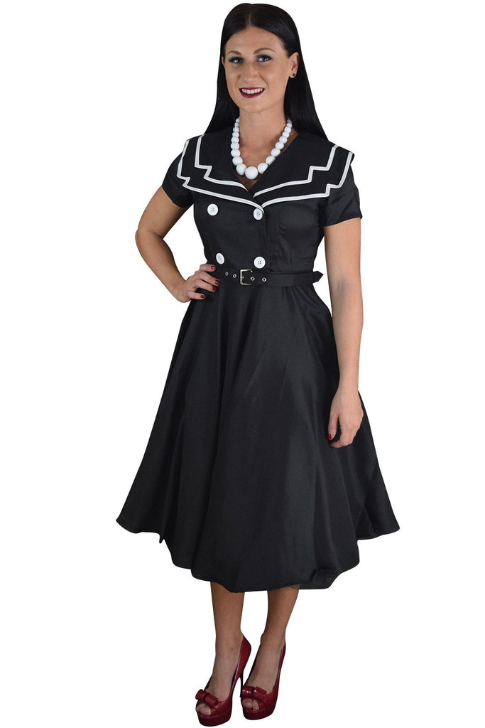 Vintage Design 60's Sailor Black Satin Flare Swing Dress - Skelapparel - 1