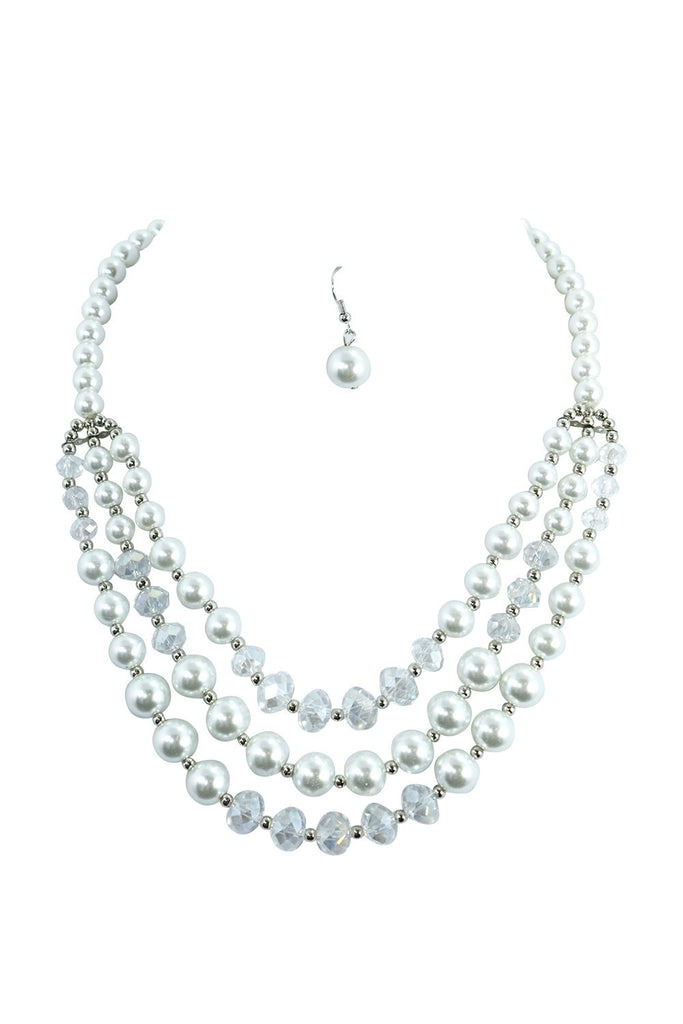 Multi-layered white pearl necklace