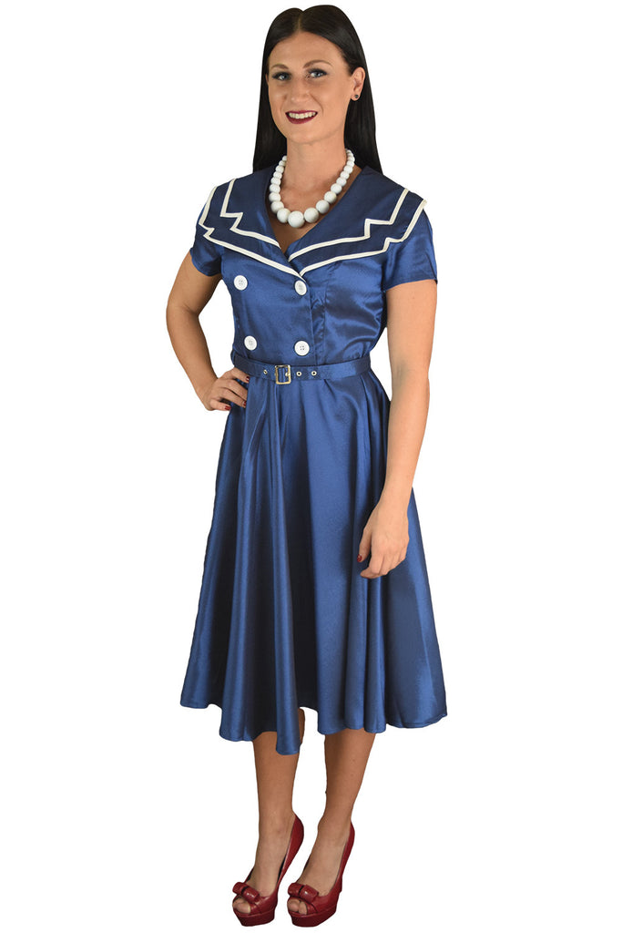 Vintage Design 60's Sailor Navy Satin Flare Swing Dress - Skelapparel - 1