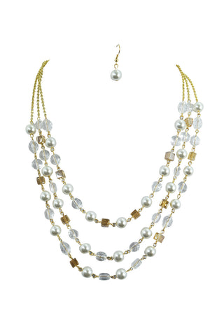 Glass Pearl Cluster Bib Necklace