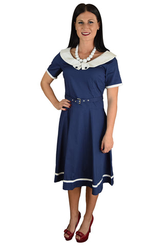 50's Retro Vintage Office Lady White Boat Collar Navy Flare Dress - Skelapparel