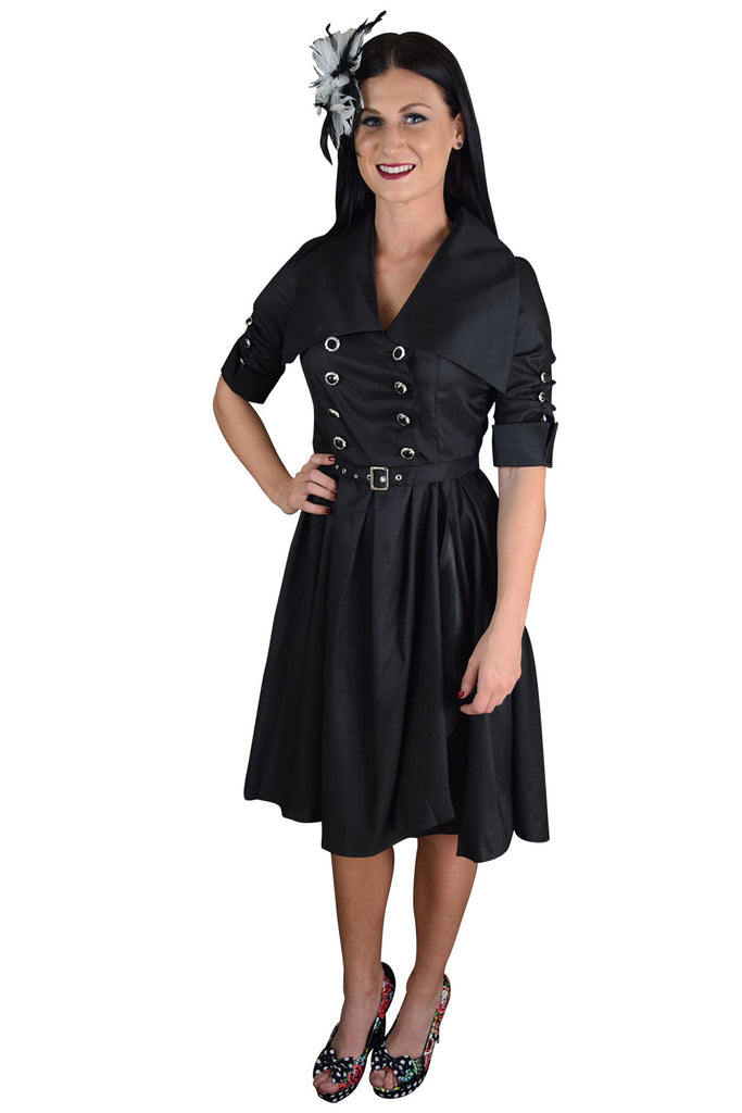 60's Vintage Style Rockabilly Gothic Steampunk Black Belted Military Swing Dress - Skelapparel - 1