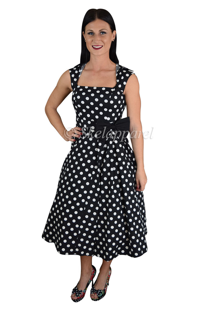 60's Vintage Inspired black white Polka Dot print Swing Dress - Skelapparel