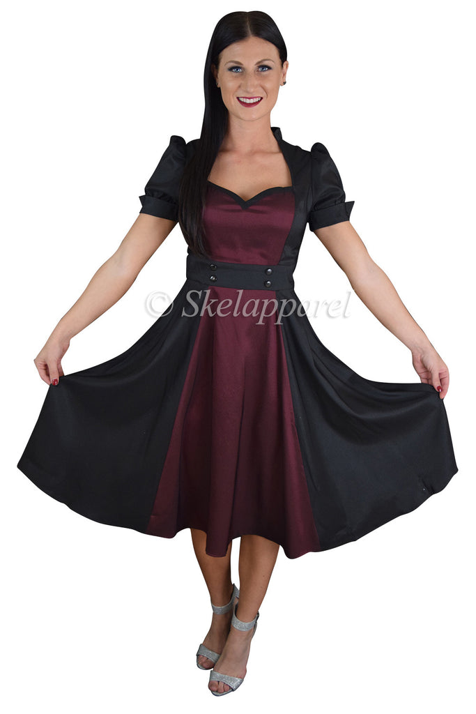 Retro Vintage 60's Queen of Hearts Black & Burgundy Two Tone Satin Dress - Skelapparel