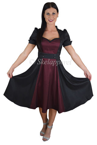 Retro Vintage 60's Queen of Hearts Black & Burgundy Two Tone Satin Dress - Skelapparel - 1