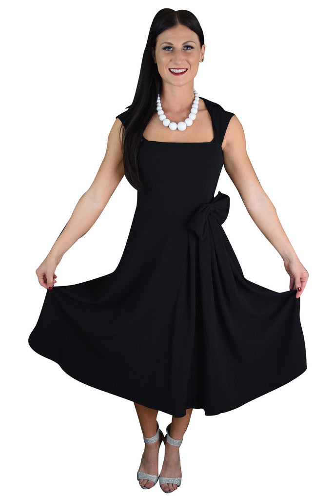 50's Vintage Design Rockabilly Vamp Black Belted Party Dress with Bow Accent - Skelapparel