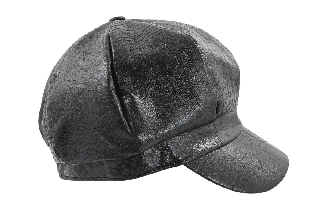 Faux Leather Captain Newsboy Cap Fiddler Fisherman Hat Black - Skelapparel