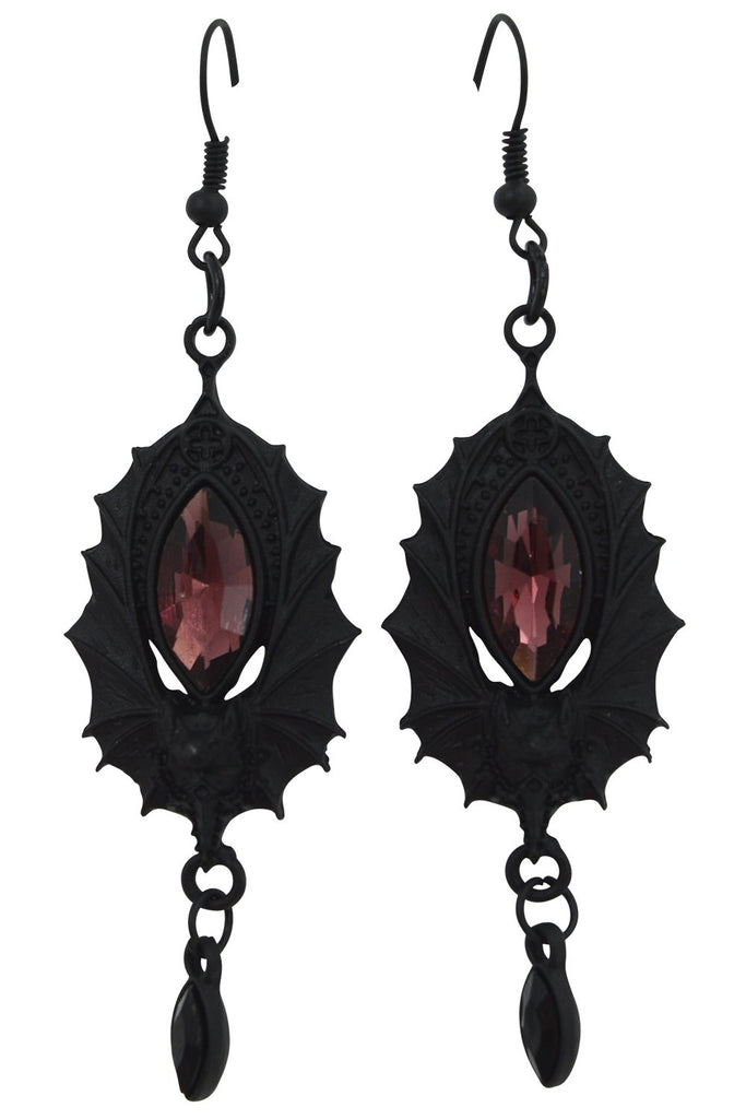 Restyle Victorian Bat Vampire night jeweled bat wings Earrings - Skelapparel