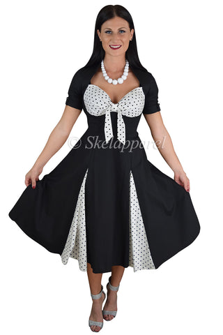 50's Rockabilly Pin up Black and White Polka Dot Party Swing Dress - Skelapparel