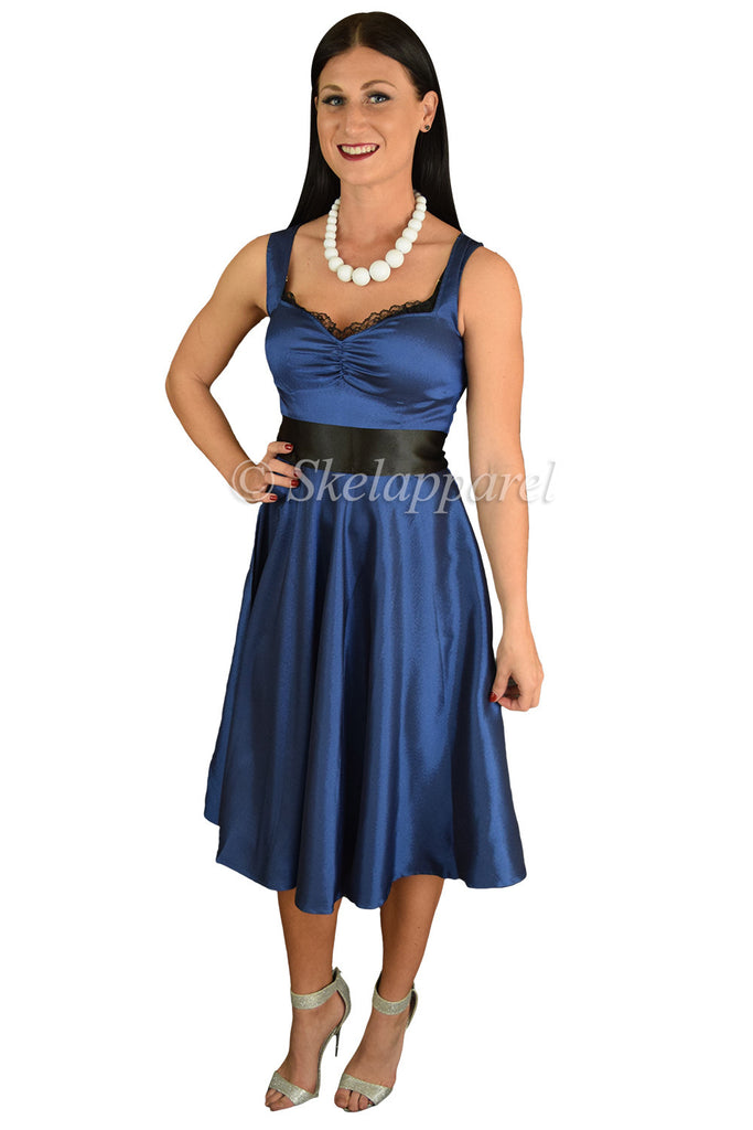 60's Vinatge Retro Design Blue Satin Dress with Black Sash Ribbon Belt - Skelapparel - 1