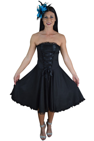 Gothic Rockabilly Black Satin Corset Lace-up Dress - Skelapparel - 1