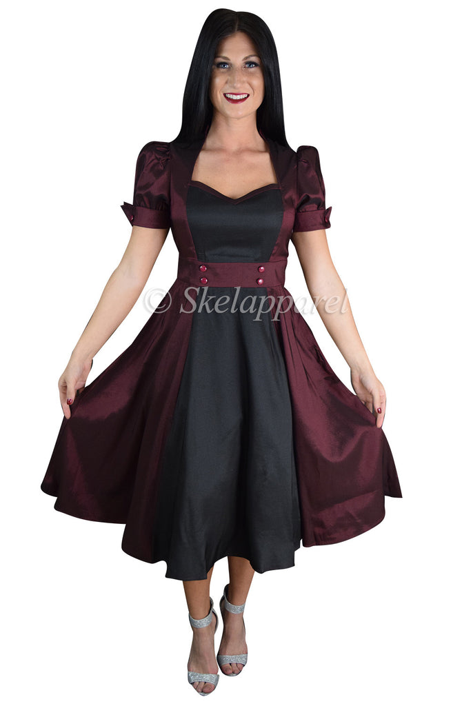 60's Vintage inspired Queen of Hearts Two Tone Burgundy & Black Satin Dress - Skelapparel - 1