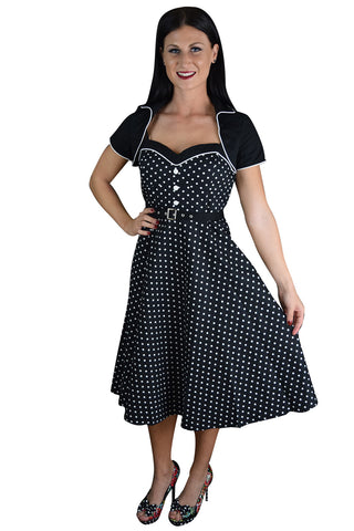60's Vintagge Black and White Polka Dot Flare Two Tone Dress with Bolero Jacket - Skelapparel