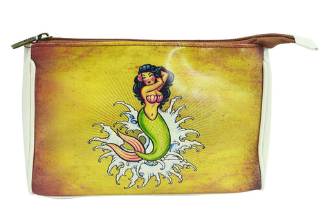 Rockabilly Vintage Tattoo Mermaid Makeup Pouch - Skelapparel