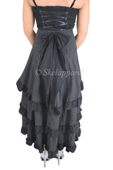 Gothic Victorian Steampunk Black Pinstriped Tiered Tail Long Stripe Bustle Skirt - Skelapparel - 2
