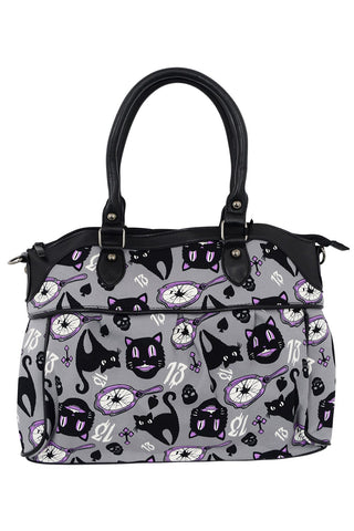 Banned Lucky 13 Black Cats Broken Mirrors Shoulder Bag - Skelapparel