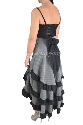 Gothic Victorian Steampunk Pinstriped Tiered Tail Long Bustle Gray Skirt - Skelapparel - 1