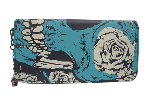 Blue skull Large Wallet