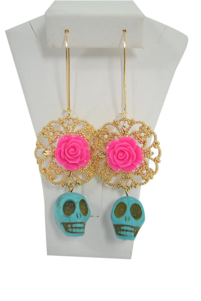 Mexican Pink Flower Sugar Skull Day of the Dead Turquoise Skull Earrings - Skelapparel - 1