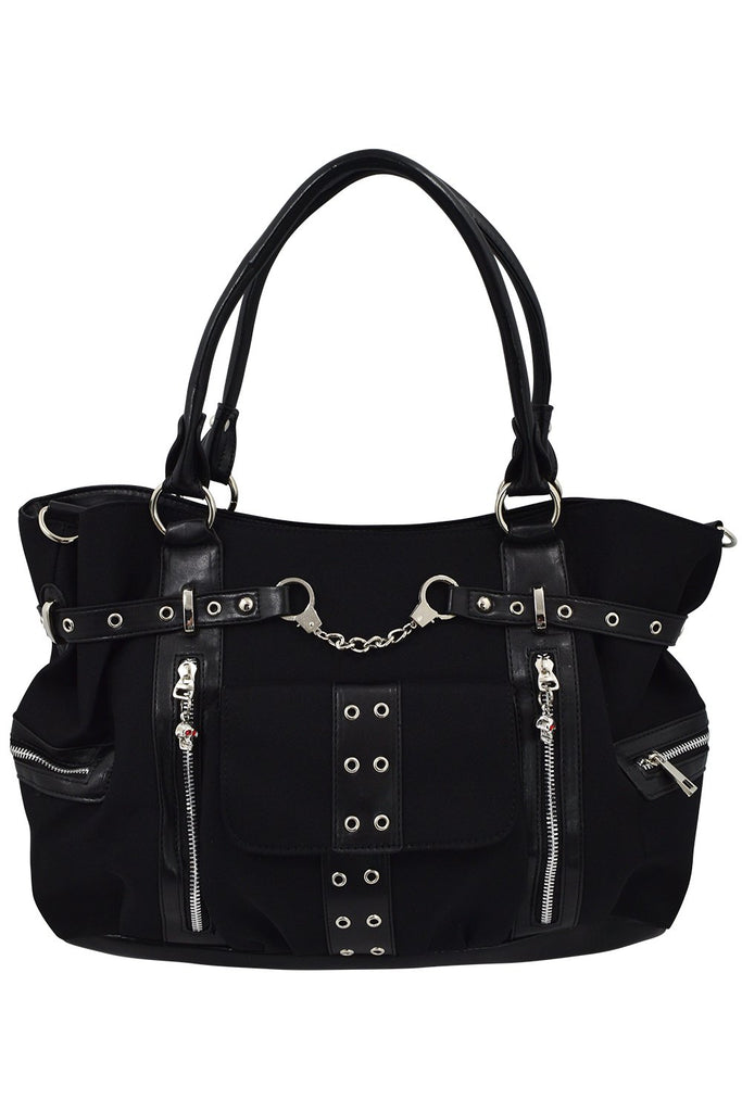Banned Rise Up Handcuff Goth Punk Rock Black Tote Crossbody Bag Purse - Skelapparel