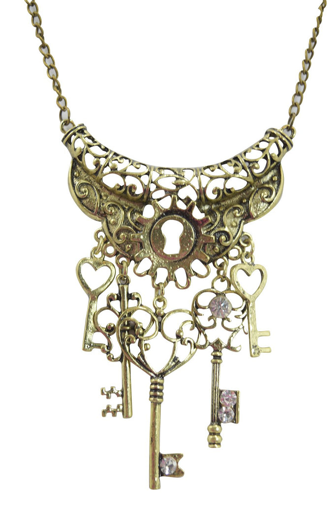 Steampunk Vintage Key To Your Heart Antique Keys and Cog Charm Pirate Keys Necklace