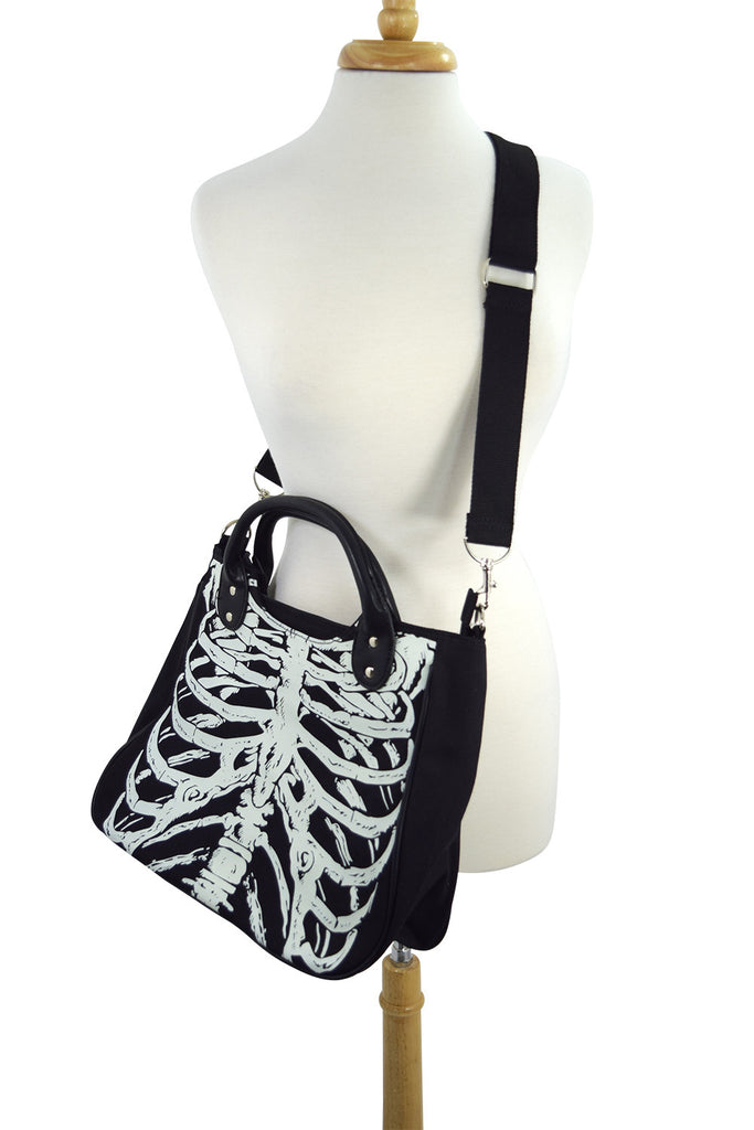 Banned Gothic Emo Ribcage Skeleton Glow in the Dark Shoulder Bag - Skelapparel - 1