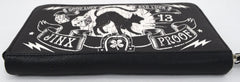 Liquorbrand Jinx Proof Halloween Black Cat Luck Goth Gothic Zip Around Clutch Wallet - Skelapparel