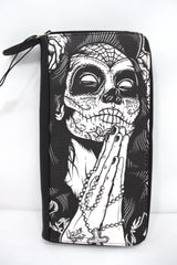Liquorbrand Gypsy rose Praying Sugar Skull Woman Tattoo Skull zip around clutch Wallet - Skelapparel