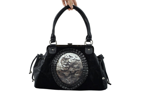 Gothic Vamp Flying Bats Black Velvet Cameo Snap Lock Handbag - Skelapparel