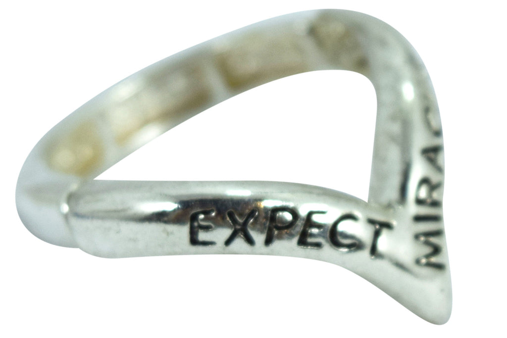 "Inspirational Message Ring "" Expect Miracles"" Mini V Shape Ring - Skelapparel"