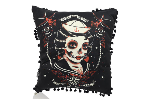 Liquorbrand Gothic Dark Seas Sailor skull lady tattoo Lounge Pillow - Skelapparel