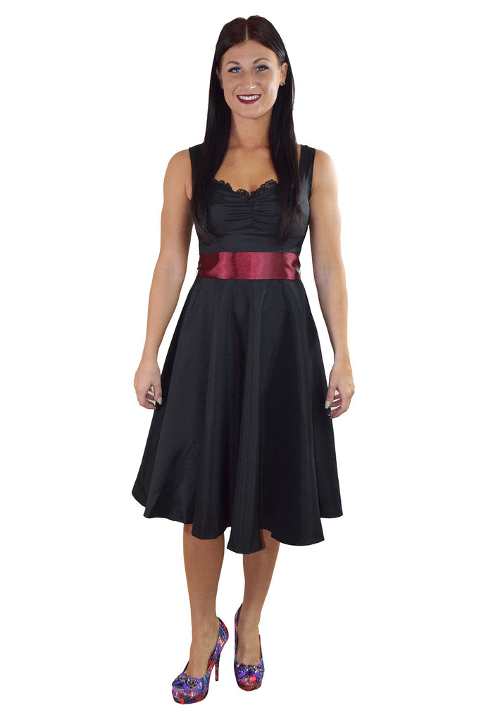 60's Vinatge Retro Design Little Black Satin Dress with Burgundy Sash Ribbon Belt - Skelapparel - 1