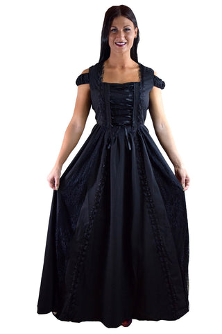 Gothic Victorian Dark Side Raven Witch Black Long Corset Lace up Party Dress - Skelapparel